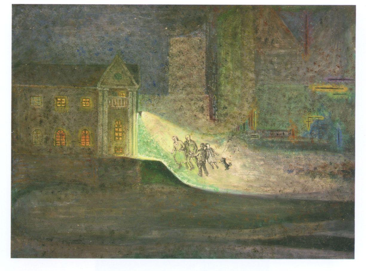 """Erna Rosenstein, """"Wieczór"""", 1974, tempera, deska kreślarska (źródło: materiały prasowe)"""