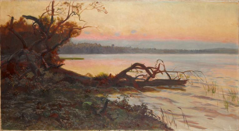 """Józef Chełmoński, """"Zachód słońca"""", 1898, olej na płótnie; 116,5 x 212 cm, ze zbiorów Muzeum Okręgowego w Tarnowie, nr inw. MT-A/M/778 (źródło: materiały prasowe organizatora)"""