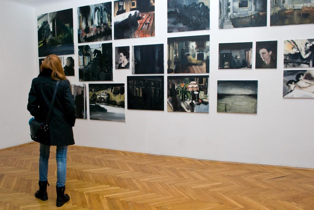 """Łukasz Stokłosa, """"Skład obrazów"""", zdjęcia z wernisażu, 8 stycznia 2013 r., fot. Kornelia Szpunar (źródło: materiały prasowe)"""