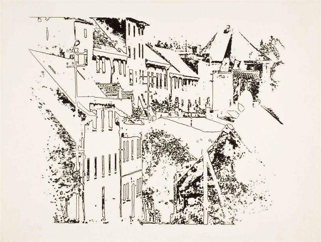 """Henryk Derczyński """"Miasteczko (Bystrzyca Kłodzka)"""", 1957 (źródło: materiały prasowe organizatora)"""