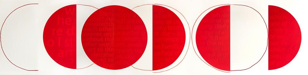 """Małgorzata Dawidek Gryglicka, """"Circle"""", akryl i pigment na płótnie, poliptyk 160cmx640cm, 2012-2013, całość, fot. Krzysztof Wiktor (źródło: materiały prasowe organizatora)"""