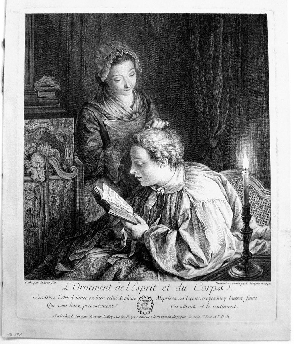 """Louis Surugue wg J.F. de Troy, """"Ozdoba duszy i ciała"""" (ze zbiorów Gabinetu Rycin Biblioteki Naukowej PAU i PAN w Krakowie)"""