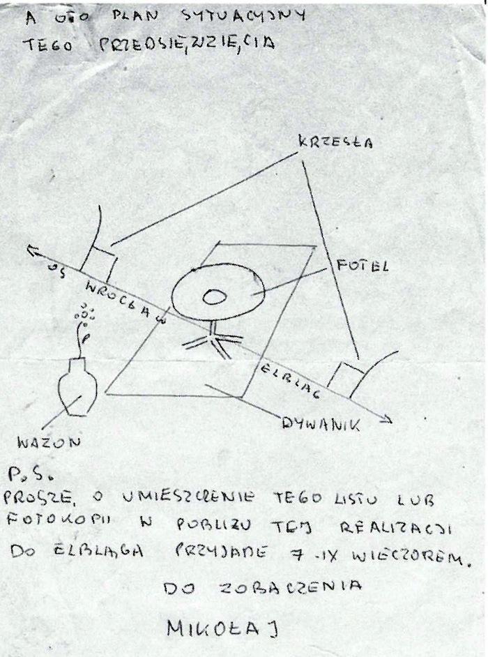 Włodzimierz Borowski – Projekt realizacji nadesłany na IV Biennale Form Przestrzennych Zjazd Marzycieli 1971. Dzięki uprzejmości Galerii EL w Elblągu (źródło: materiały prasowe organizatora)