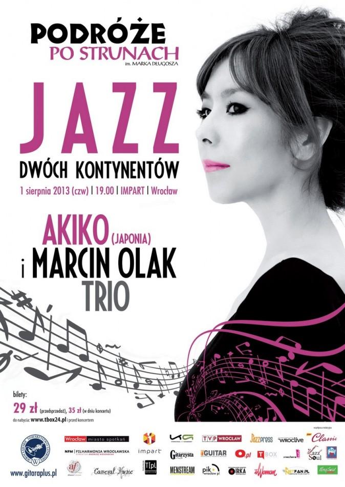 Akiko & Marcin Olak Trio – plakat (źródło: materiały prasowe Wrocławskiego Towarzystwa Gitarowego)