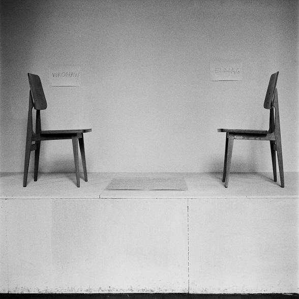 """Włodzimierz Borowski, """"Dialog"""", Sympozjum Plastyczne Wrocław '70, Muzeum Architektury, 1970. Fot. Tadeusz Rolke. Kolekcja MWW (źródło: materiały prasowe organizatora)"""