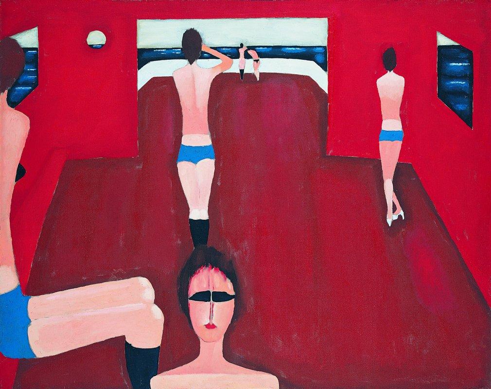 """Jerzy Nowosielski, """"Dziewczyny na statku"""", 1982, fot. dzięki uprzejmości Fundacji Nowosielskich (źródło: materiały prasowe organizatora)"""