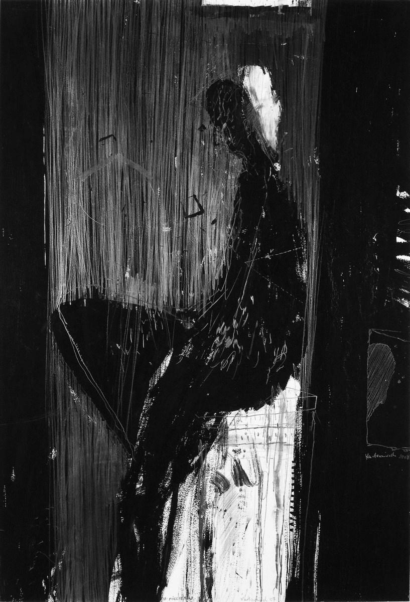 """Janusz Karbowniczek, """"W półcieniu"""", 2007, 90 x 60 cm, ołówek, tempera. Fot. Materiały prasowe Galerii Bielskiej BWA"""