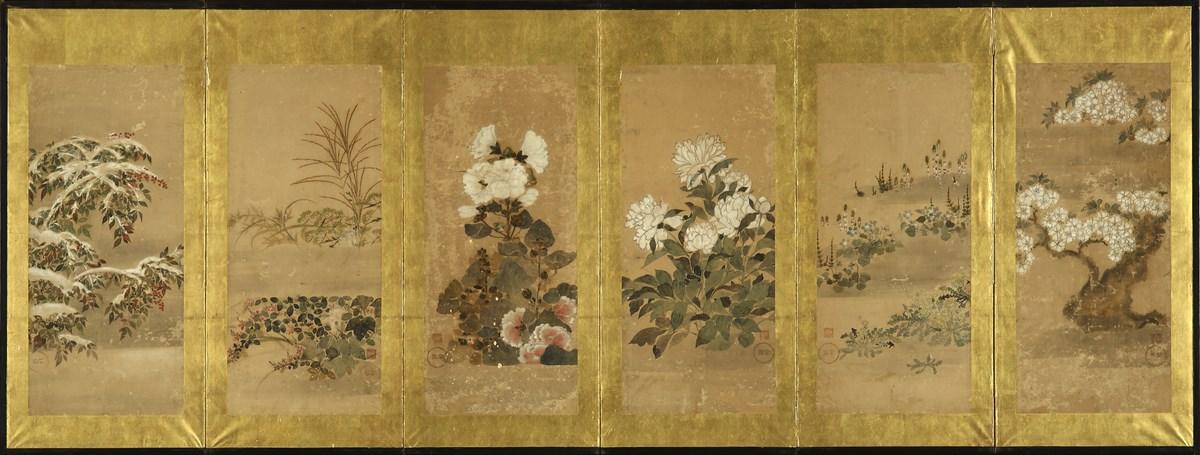 Kwiaty i trawy – malowidła sōka-zu, Sōsetsu Kitagawa (tw. ok. 1639–1650), szkoła Rimpa, poł. XVII w., parawan sześcioskrzydłowy, z kolekcji J.A.N. Fine Art, London (źródło: materiały prasowe organizatora)