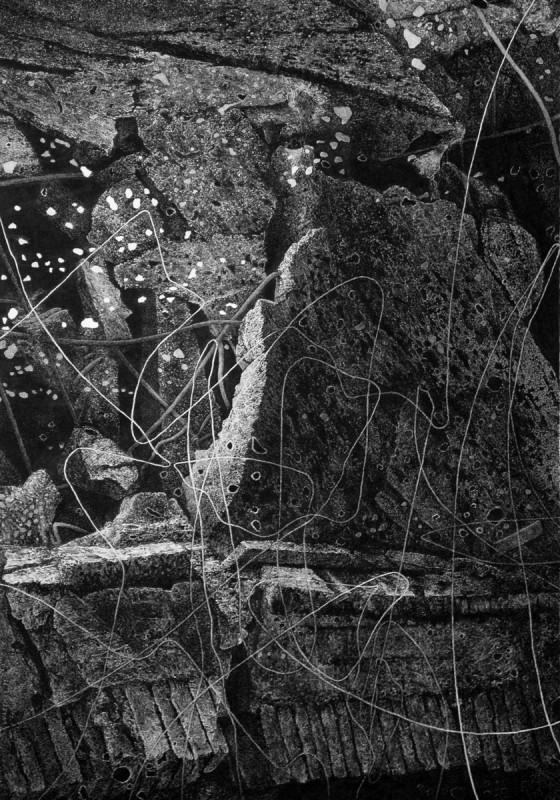 """Paweł Warchoł, """"Obiekt 2-11"""", 2011, rysunek, tusz na kartonie, 100 x 70 cm. Fot. Materiały prasowe Galerii Bielskiej BWA"""