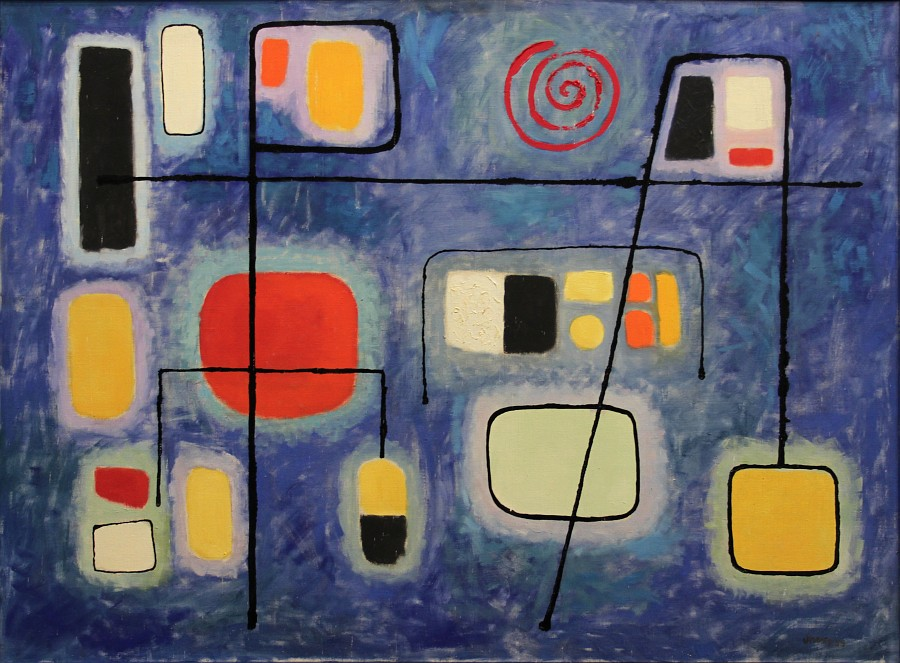 """Romuald Drzewiecki, """"Bruksela w nocy"""", 1959 (źródło: materiały prasowe organizatora)"""