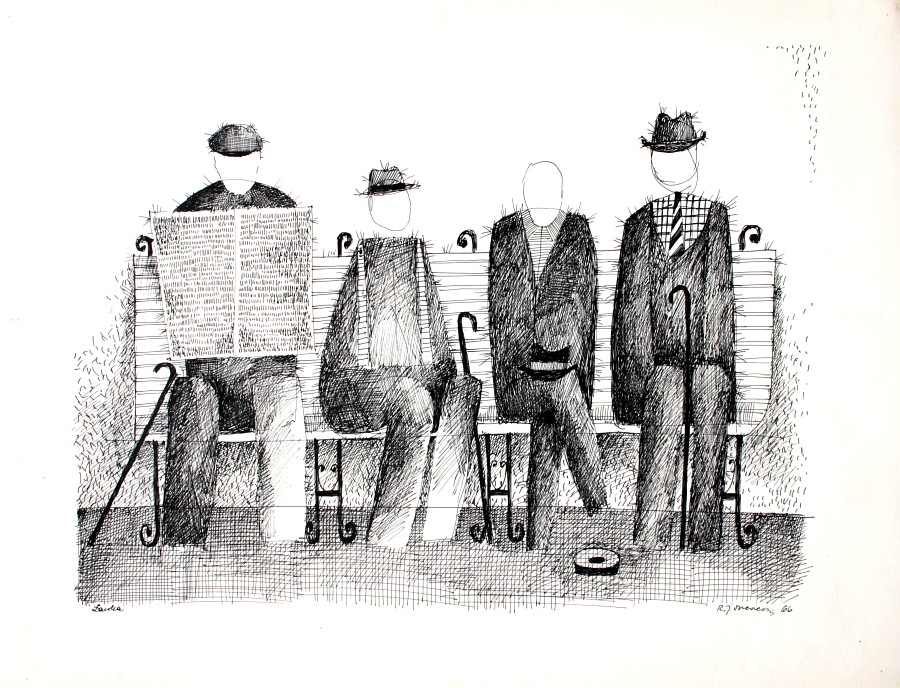 """Romuald Drzewiecki, """"Ławka"""", 1966 (źródło: materiały prasowe organizatora)"""