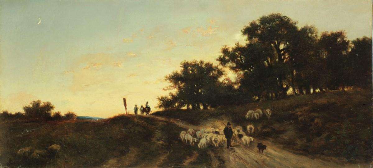 """Christian F. Mali (1832-1906), """"Pasterz ze stadem owiec"""". Oblatni Galerie w Libercu, nr inw. Inv. Nr O-348 (źródło: materiały prasowe organizatora)"""