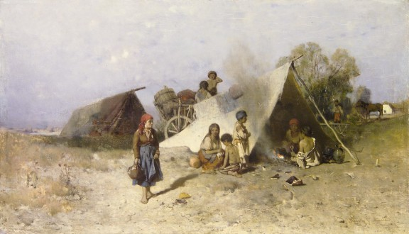 """Géza Mészöly (1844-1887), """"Wędrujący Cyganie"""", 1873-75. Węgierska Galeria Narodowa w Budapeszcie (źródło: materiały prasowe organizatora)"""