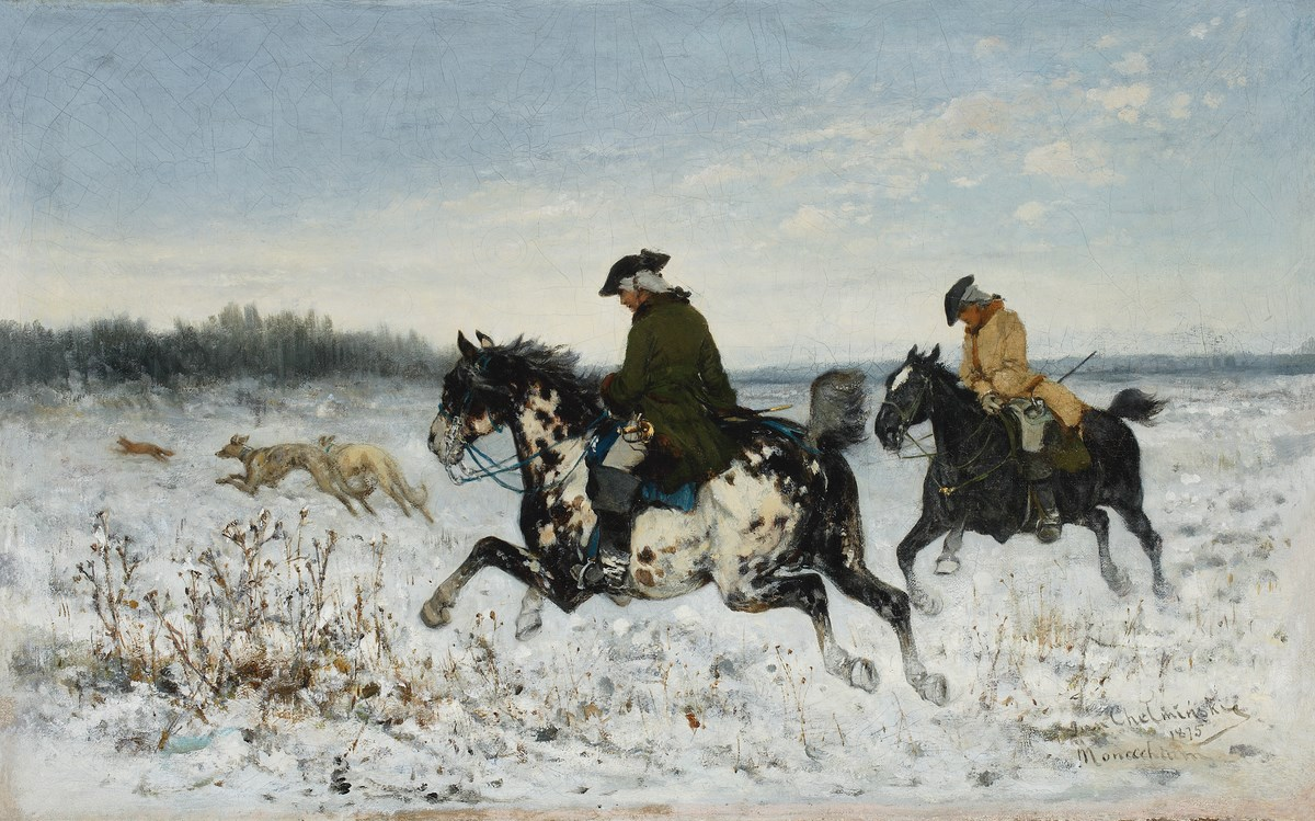 """Jan Chełmiński (1851-1925), """"Polowanie z chartami"""", 1875, wł. Muzeum Narodowe w Warszawie; Foto Piotr Ligier (źródło: materiały prasowe organizatora)"""