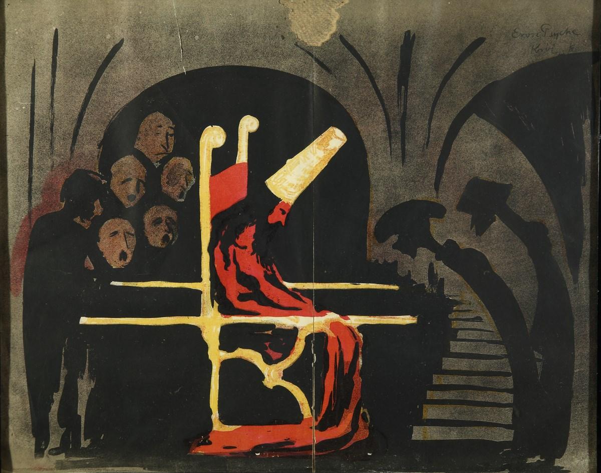 """Karol Frycz, """"Król w podziemiach"""" do sztuki Jerzego Żuławskiego """"Eros i Psyche"""", 1904 (źródło: materiały prasowe organizatora)"""