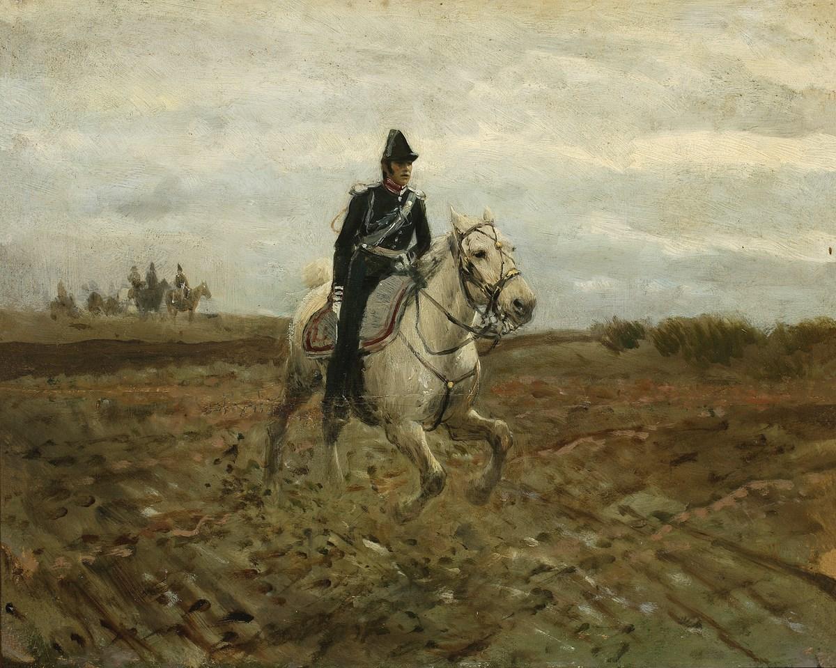 """Maksymilian Gierymski, """"Adiutant sztabowy z 1830 roku"""", ok. 1869, wł. Muzeum Narodowe w Warszawie; foto Piotr Ligier (źródło: materiały prasowe organizatora)"""