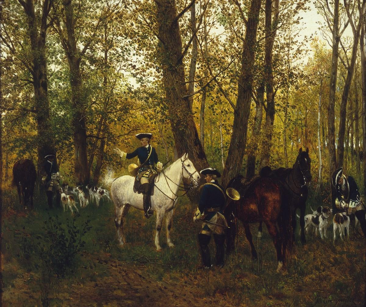 """Maksymilian Gierymski, """"Odpoczynek na polowaniu"""", 1872, wł. Muzeum Narodowe w Warszawie; foto Krzysztof Wilczyński (źródło: materiały prasowe organizatora)"""