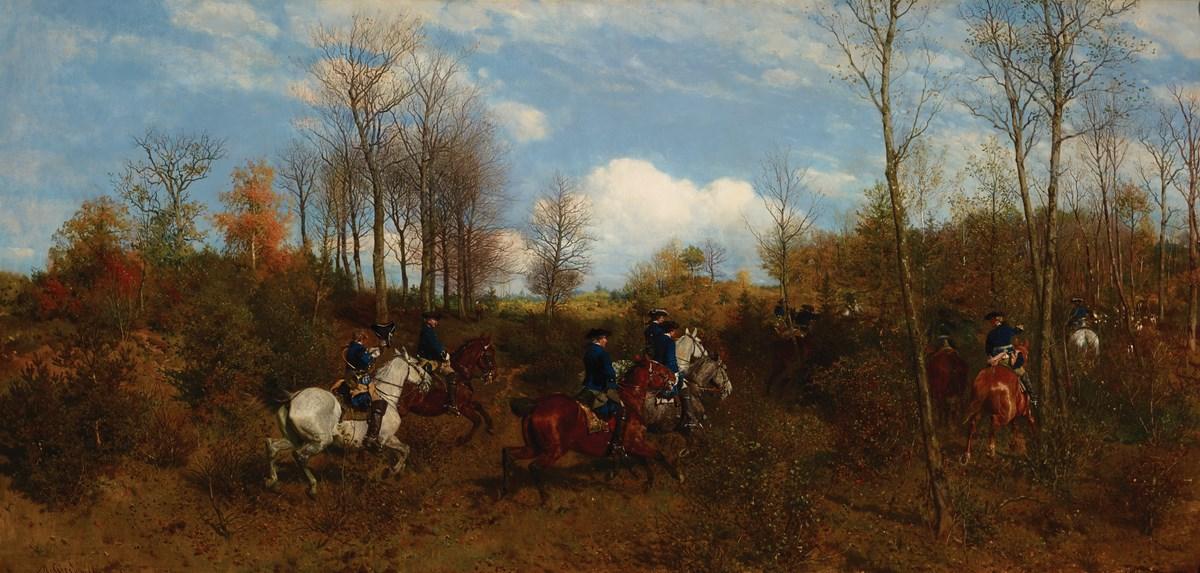 """Maksymilian Gierymski, """"Polowanie »par force« na jelenia"""", 1874, wł. Kunsthalle Kiel, nr inw. 903 (źródło: materiały prasowe organizatora)"""