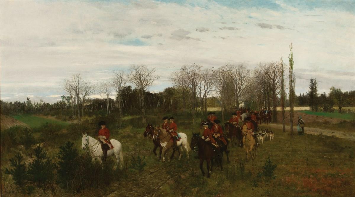"""Maksymilian Gierymski, """"Wyjazd na polowanie"""", 1871, wł. Muzeum Narodowe w Warszawie; foto Krzysztof Wilczyński (źródło: materiały prasowe organizatora)"""