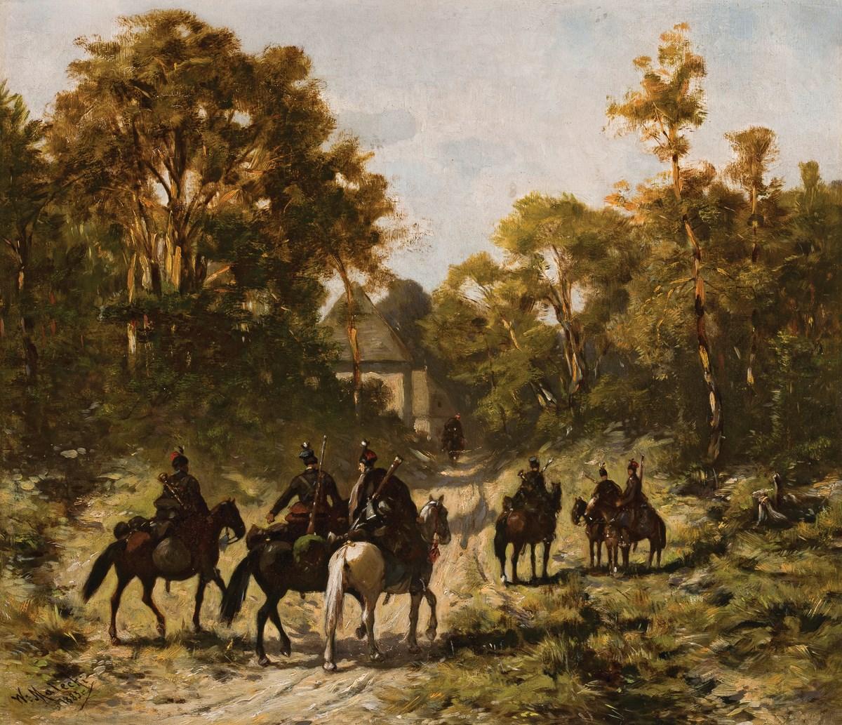"""Władysław Malecki (1836-1900), """"Patrol powstańców – czaty"""", 1883, wł. Muzeum Narodowe w Warszawie; foto Krzysztof Wilczyński (źródło: materiały prasowe organizatora)"""