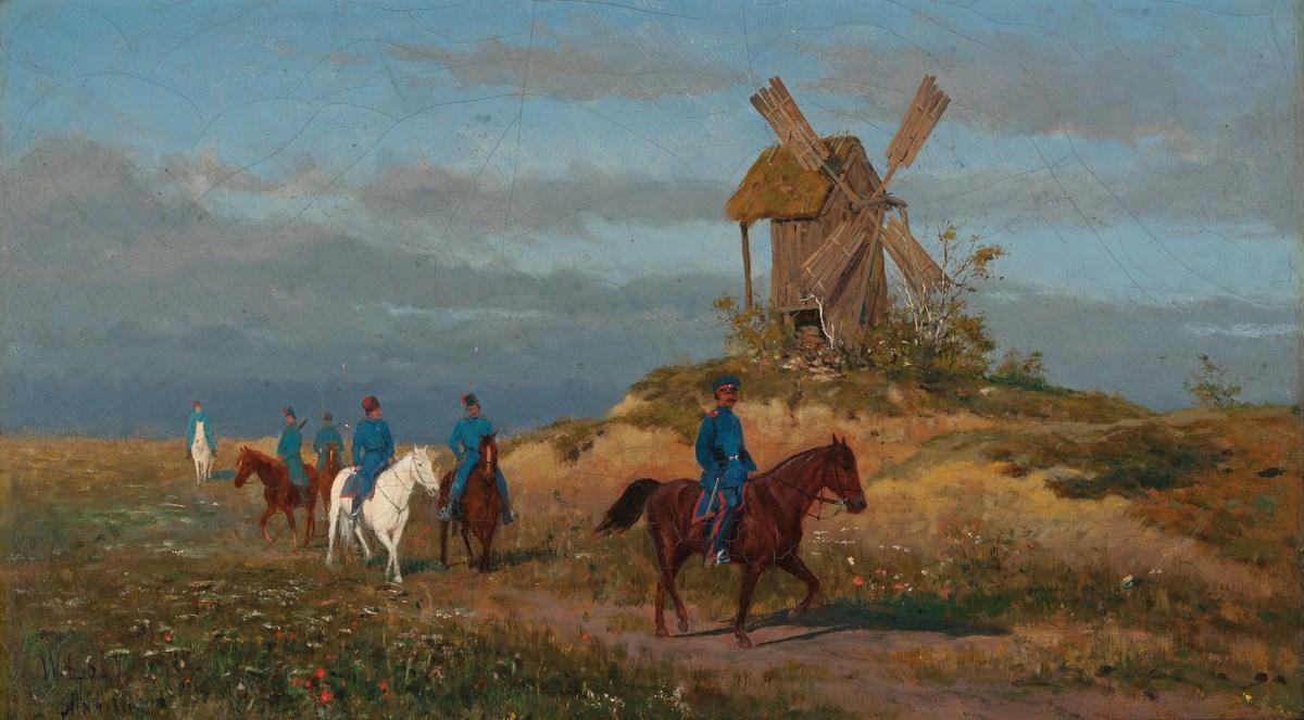 """Włodzimierz Łoś (1880-1888), """"Żołnierze na polnej drodze"""", wł. Muzeum Narodowe w Warszawie; foto Krzysztof Wilczyński (źródło: materiały prasowe organizatora)"""