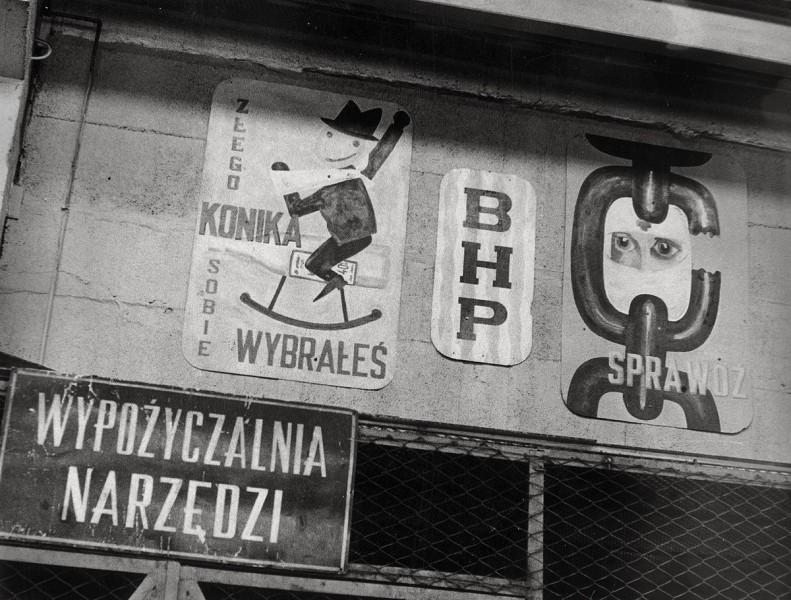 """Jerzy Lewczyński, """"Bez tytułu (BHP)"""", bez daty. Ze zbiorów Muzeum w Gliwicach (źródło: materiały prasowe organizatora)"""
