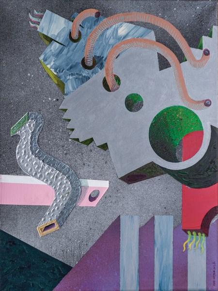 """Igor Wójcik, """"Mechabiotylae CXLI"""", 2013, olej, akryl, płótno, 40 x 30 cm (źródło: materiały prasowe organizatora)"""
