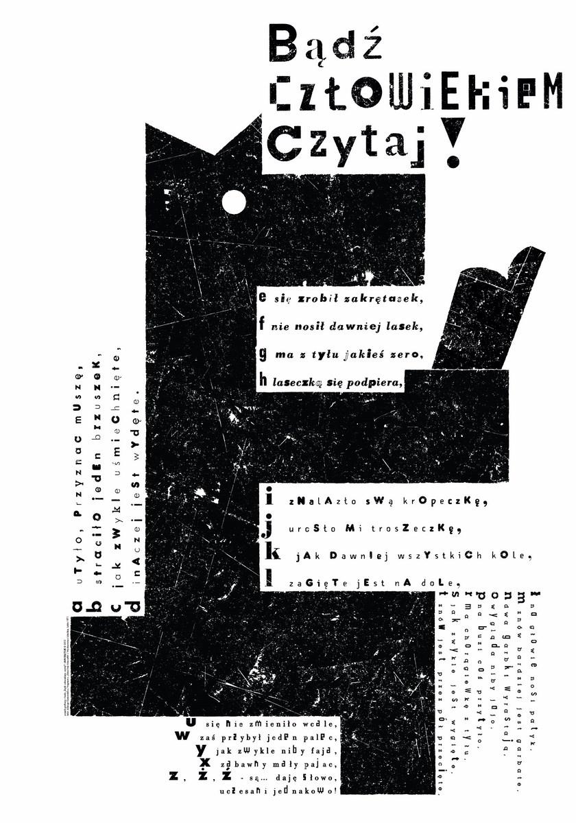 """Jan Bajtlik Polska, """"Ę"""" z cyklu """"Bądź człowiekiem, czytaj!"""",2013, druk cyfrowy, Akademia Sztuk Pięknych w Warszawie (źródło: materiały prasowe organizatora)"""