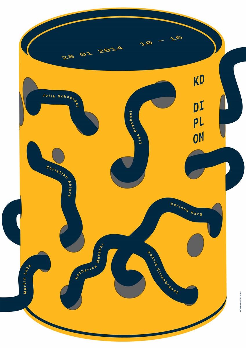 """Jonathan Auch Polska, """"Wystawa prac dyplomowych. Akademia Sztuk Pięknych w Stuttgarcie"""", 2014, sitodruk, Akademia Sztuk Pięknych w Stuttgarcie (źródło: materiały prasowe organizatora)"""