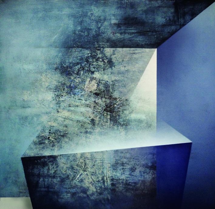"""Karolina Jaklewicz, """"Pole zaniku"""", 100x100 cm, akryl, płótno, 2011 (źródło: materiały prasowe organizatora)"""