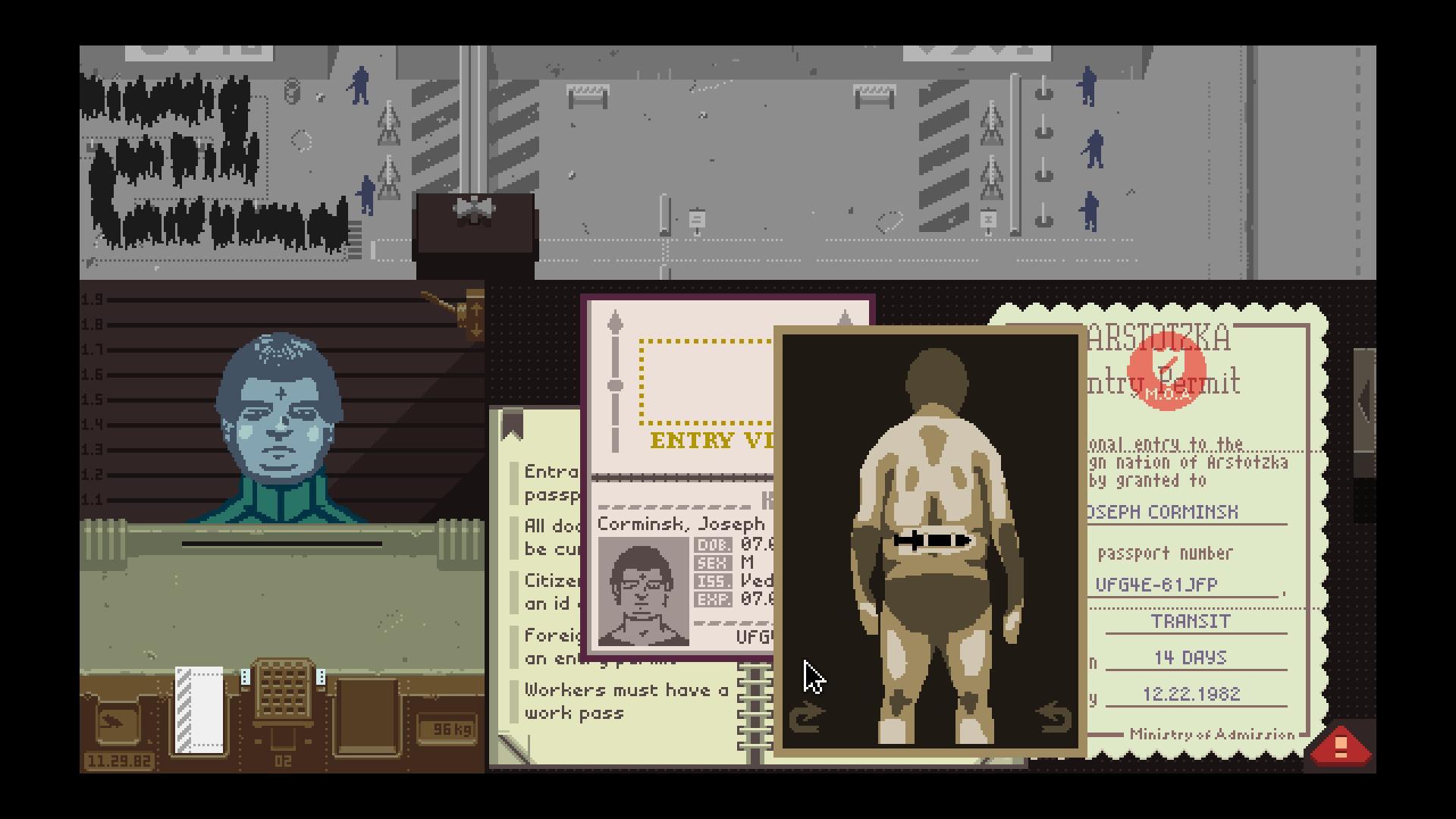 """Kadr z gry Lucasa Pope """"Papers, please"""", (źródło: materiały prasowe organizatora)"""