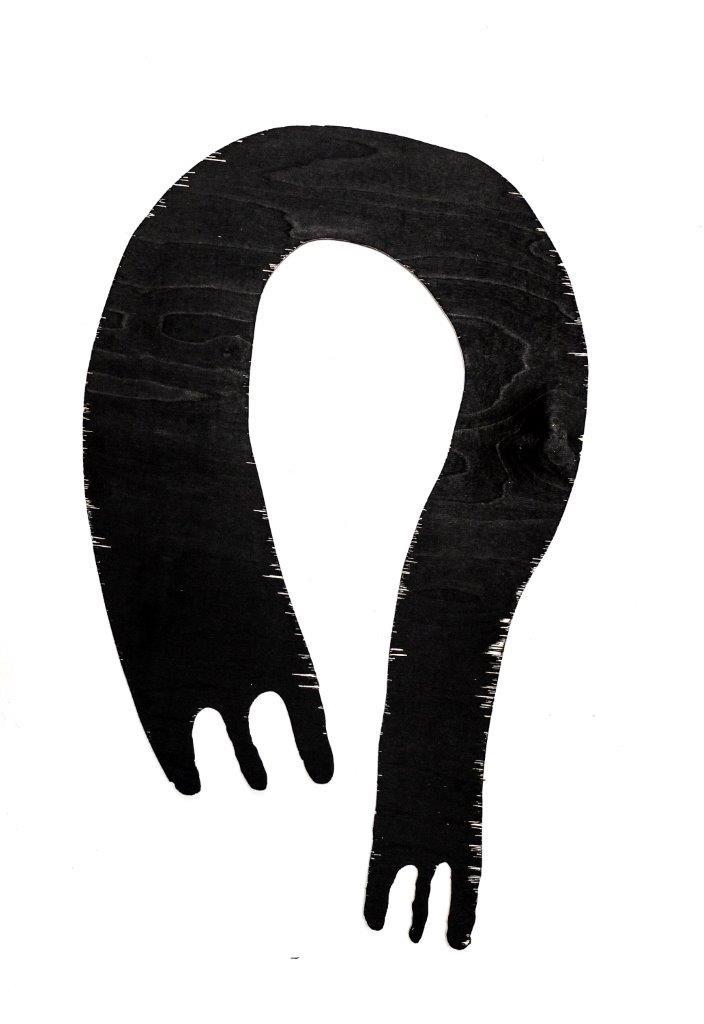 """Maciej Januszewski, """"Człowie_szlik"""", drzeworyt, sklejka, 2014, fot. Maciej Januszewski (źródło: materiały prasowe organizatora)"""