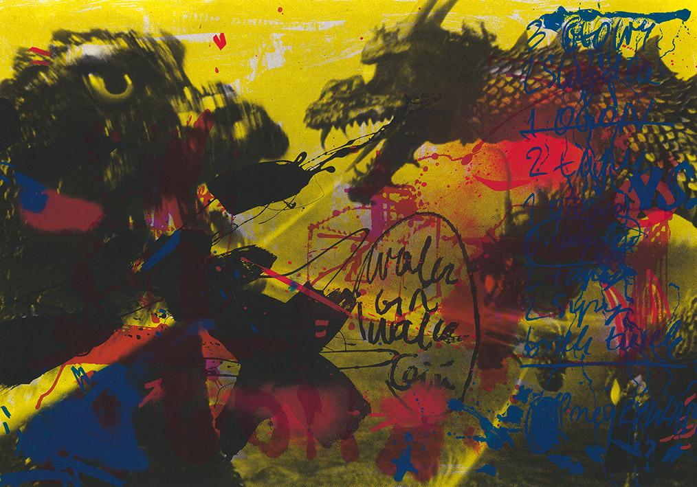 """Marta Kubiak """"Trzy głowy, jeden ogon"""", 2014, serigrafia (źródło: materiały prasowe)"""