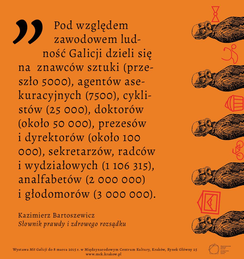 """Wystawa """"Mit Galicji"""", infografika, MCK w Krakowie (źródło: materiały prasowe organizatora)"""