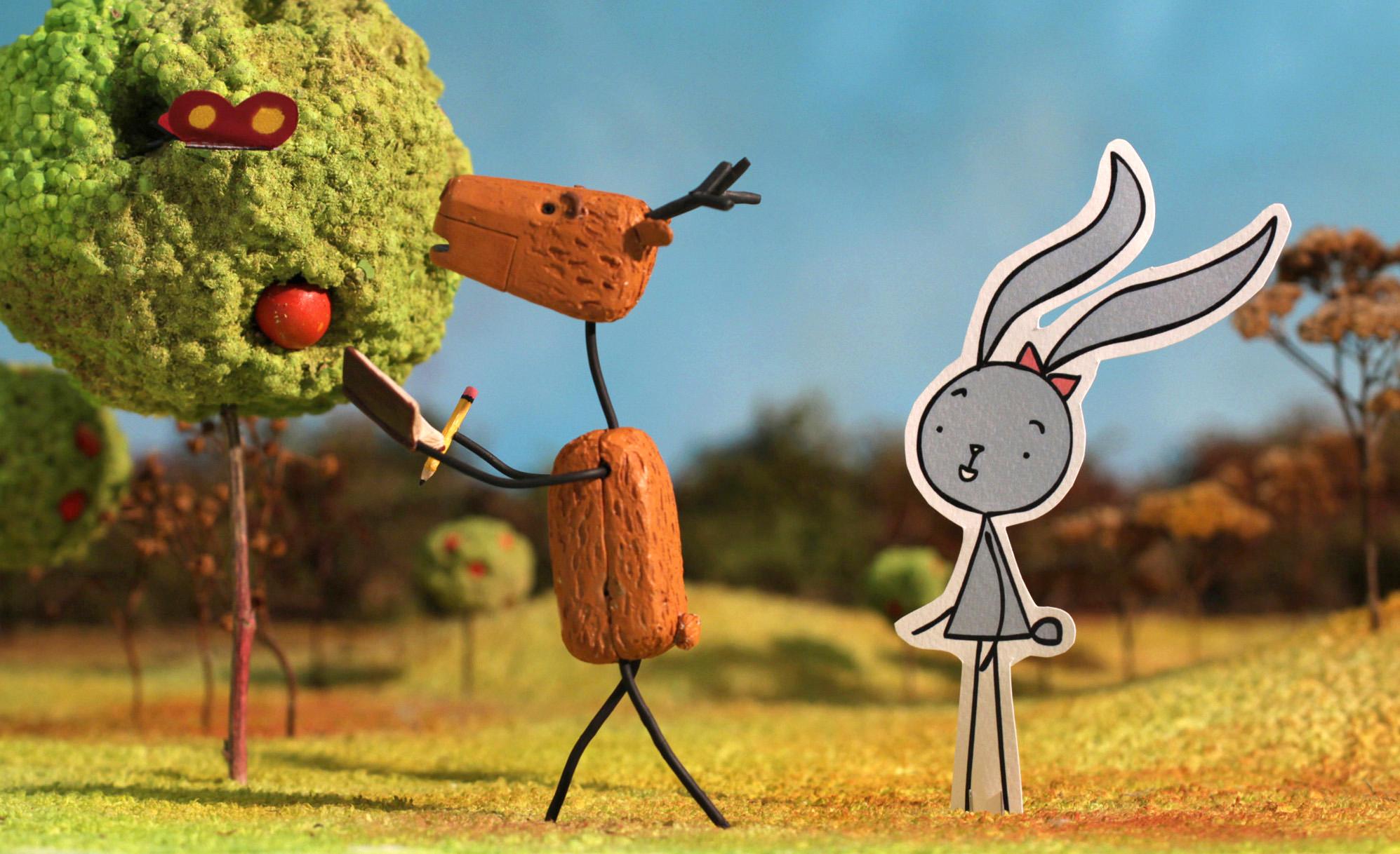 """Kadr z animacji Petera Vacza """"Królik i jeleń"""", (źródło: materiały prasowe organizatora)"""