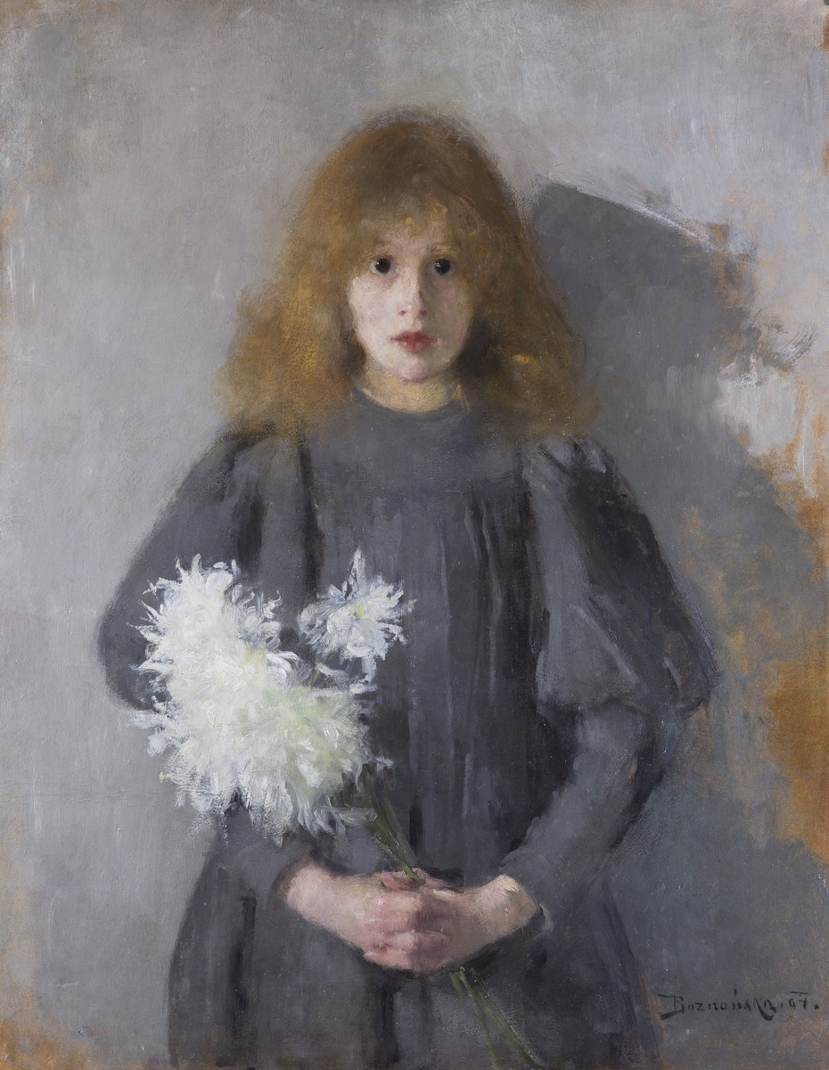 """Olga Boznańska, """"Dziewczyna z chryzantemami"""", 1894, wł. Muzeum Narodowe w Krakowie (źródło: materiały prasowe organizatora)"""