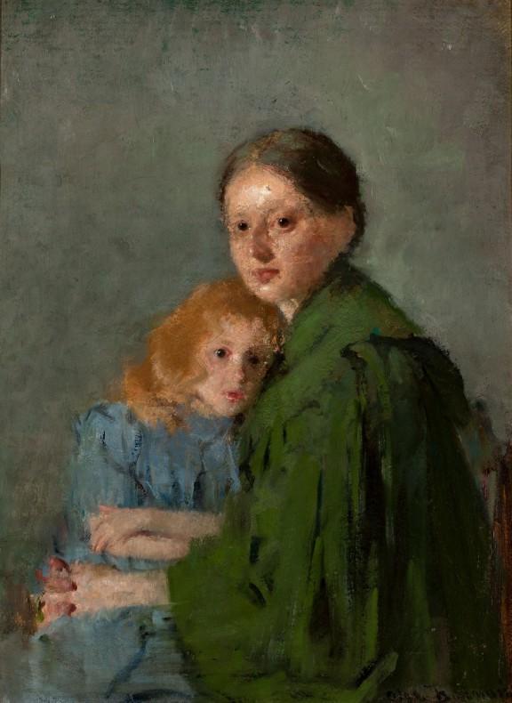 """Olga Boznańska, """"Matka z dzieckiem (Portret kobiety z małą dziewczynką) / Studium kobiety z dziewczynką, Kobieta w zielonej sukni"""", 1893, wł. Muzeum Narodowe w Warszawie (źródło: materiały prasowe organizatora)"""