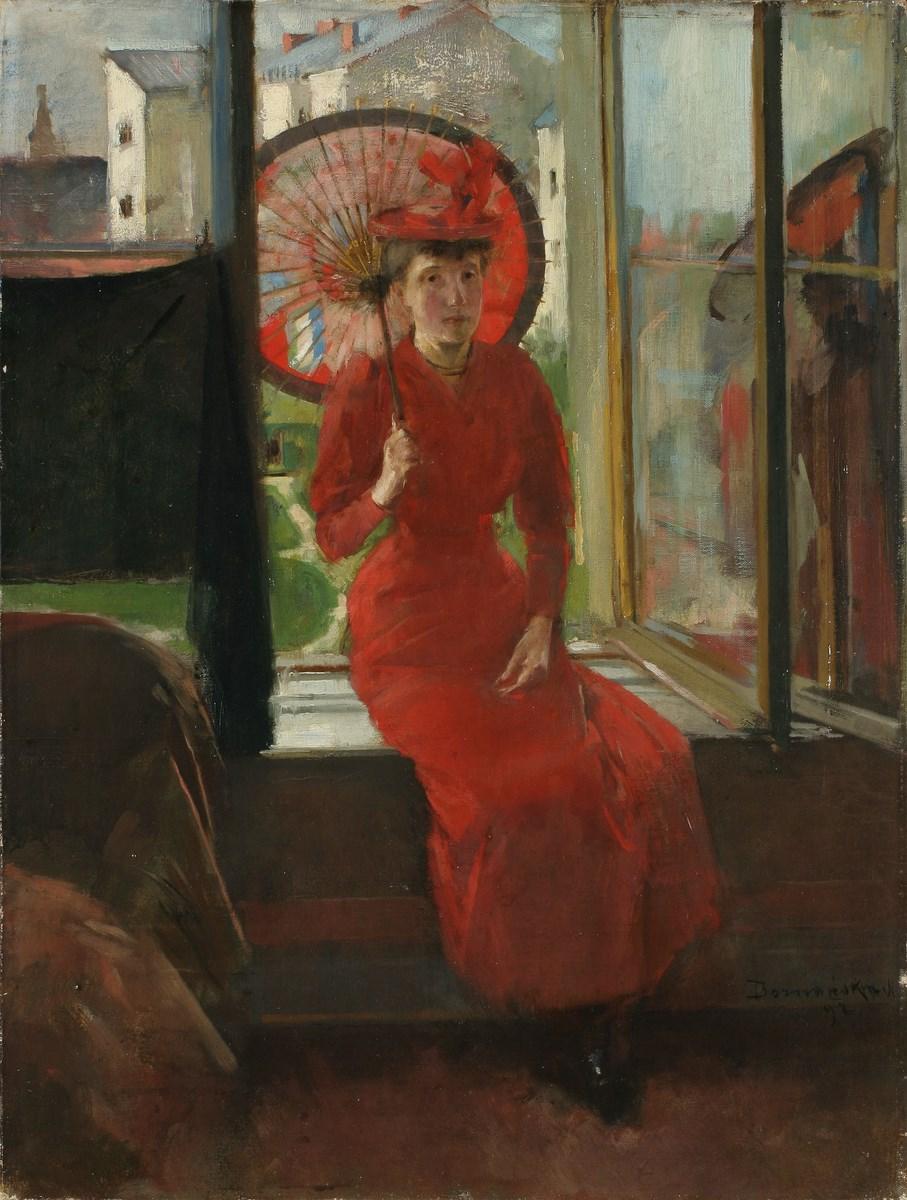 """Olga Boznańska, """"Portret z japońską parasolką"""",1892, wł.Muzeum Narodowe we Wrocławiu, fot. Arkadiusz Podstawka (źródło: materiały prasowe organizatora)"""
