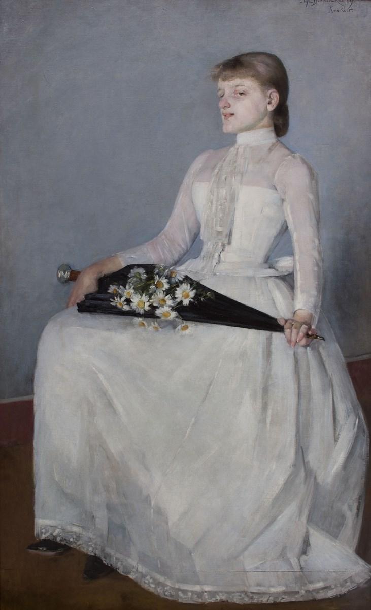 """Olga Boznańska, """"Ze spaceru (Dama w białej sukni)"""", 1889, wł. Muzeum Narodowe w Krakowie (źródło: materiały prasowe organizatora)"""