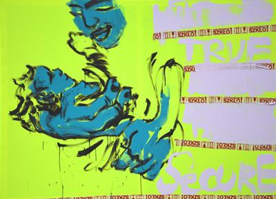 """XY ankamierzejewska, """"Chwilowe poczucie bezpieczeństwa"""", 2014, technika własna na płótnie fluorescencyjnym, 140x190 cm (źródło: materiały prasowe organizatora)"""