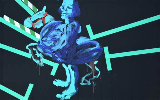 """XY ankamierzejewska, """"Rakieta"""", 2014, technika własna na płótnie, 120 x 190 cm (źródło: materiały prasowe organizatora)"""