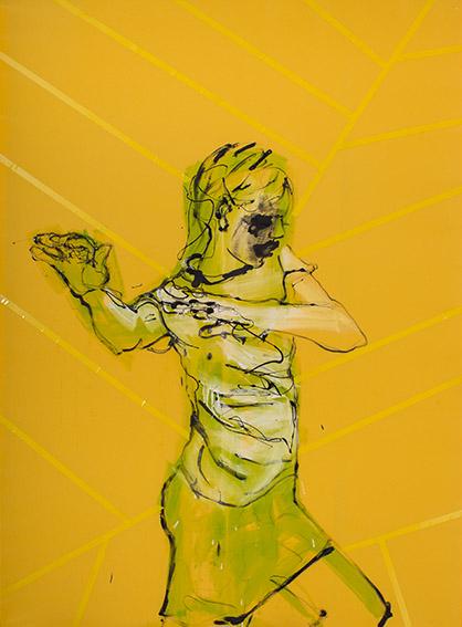 """XY ankamierzejewska, """"W letniej kiecce"""", 2014, technika własna na płótnie, 190 x 140 cm (źródło: materiały prasowe organizatora)"""