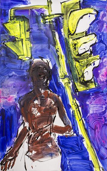 """XY ankamierzejewska, """"W ostatniej chwili"""", 2014, technika własna na płótnie,190 x 120 cm (źródło: materiały prasowe organizatora)"""