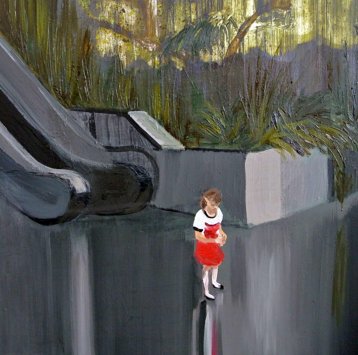 """Agata Nowosielska, """"littleredridighood, czerwony kapturek"""", olej na płótnie, 100x200 cm, 2014 (źródło: materiały prasowe organizatora)"""