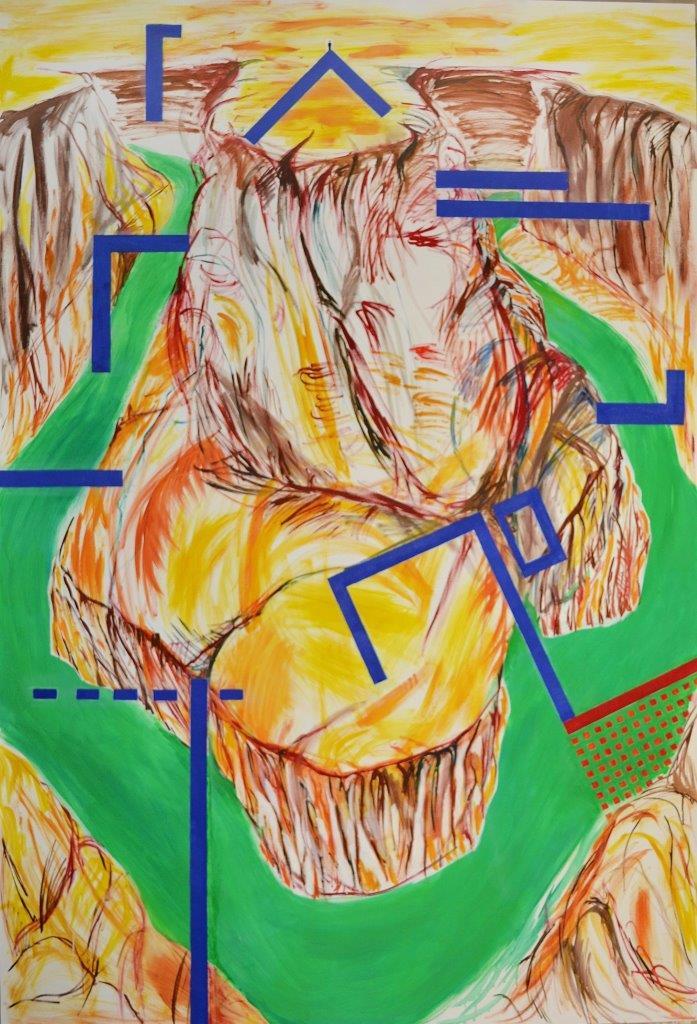 """Agata Rudzikiewicz, """"Kanion"""" z cyklu """"Obrazy narzutowe"""", olej na płótnie (źródło: materiały prasowe organizatora)"""