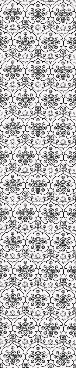 Wydział Konserwacji i Restauracji Dzieł Sztuki. Rekonstrukcja raportu wzoru tkaniny aksamitnej orantu. Wzór owocu granatu ujęty w formę siedmiolistnej róży. Rys. Ewa Proniewicka (źródło: materiały prasowe organizatora)