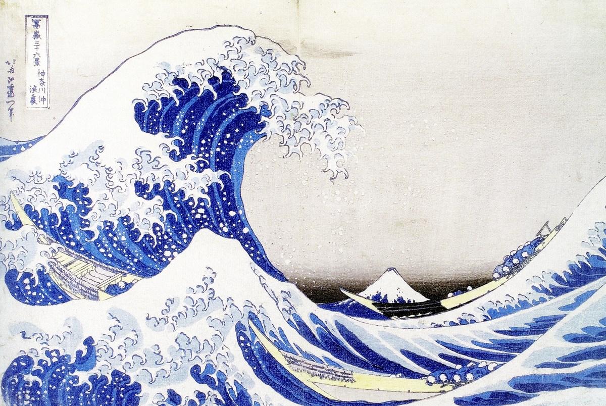 """Katsushika Hokusai, """"Pod wielką falą w Kanagawie"""", z serii: """"Trzydzieści sześć widoków góry Fudżi"""", XVIII/XIX w., drzeworyt barwny, ze zbiorów Muzeum Narodowego w Krakowie (źródło: materiały prasowe organizatora)"""