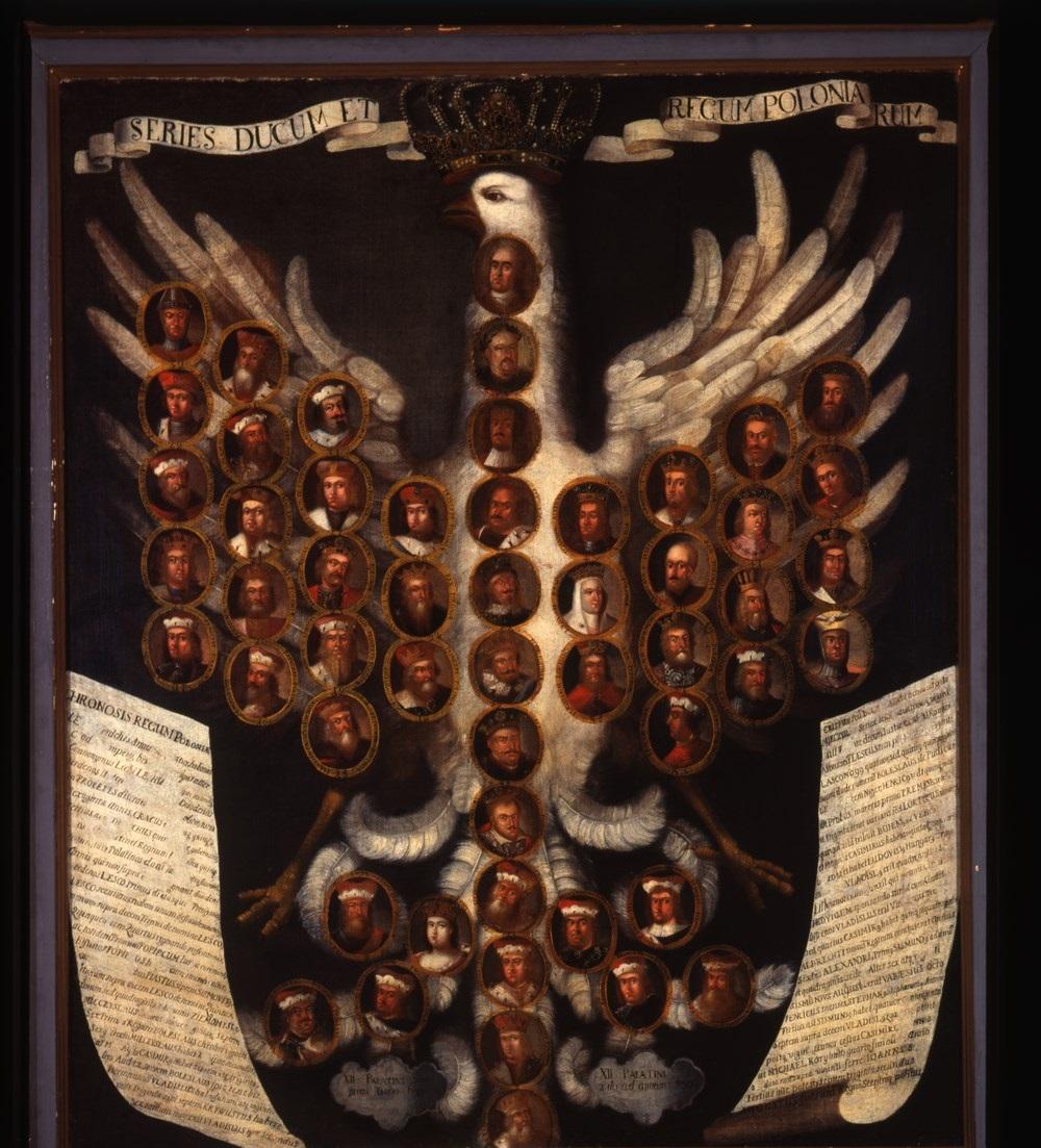 """Artysta nieznany, """"Poczet królów i książąt polskich"""", ok. 1730; 149 × 125 olej; płótno, nr inw. MNP Mp 834 (źródło: materiały prasowe organizatora)"""
