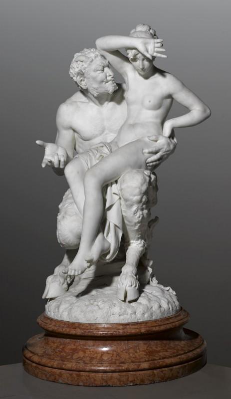 """Cyprian Godebski, """"Kuszenie"""", ok. 1881; 114 x 70 x 64; 495 kg; rzeźbienie; marmur; nr inw. 158428 (źródło: materiały prasowe organizatora)"""