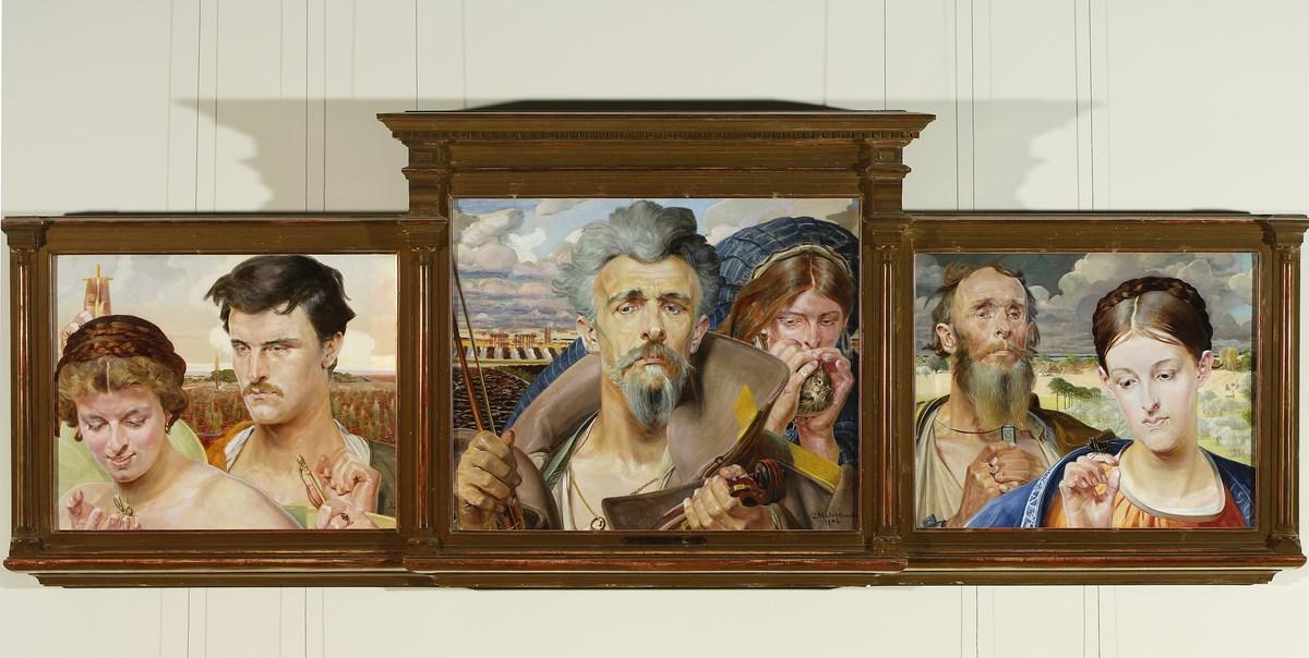 """Jacek Malczewski (1854–1929), """"Muzyka"""" (tryptyk), 1906, Muzeum Narodowe w Warszawie, nr inw. MP 1908/a-c MNW (źródło: materiały prasowe organizatora)"""